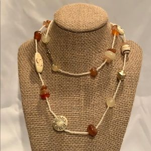 White bead necklace with stones
